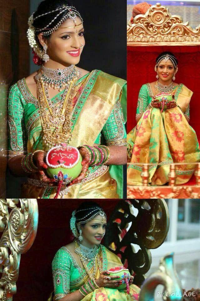 South Indian bride. Temple jewelry.Gold and green Silk kanchipuram sari. Braid with fresh flowers. Tamil bride. Telugu bride. Kannada bride. Hindu bride. Malayalee bride