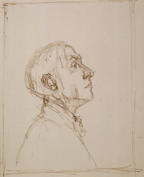 Alberto GiacomettiPortrait de Pierre Reverdy de profil droit1962ballpoint pen on paper11 1/8 x 8 7/8 inches (28.4 x 22.7 cm)