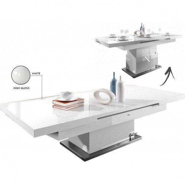 Table Design Rectangulaire 133 170 Cm Extensible Et Relevable Coloris Blanc Laque Table Design Table Basse Blanc Laque Table Basse Relevable Extensible