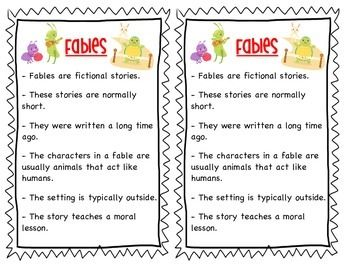 This file includes an anchor chart for fables. It include elements of a fable and images of popular fables. It has been sized to put in an interactive notebook and comes with a Frayer Model activity to help define fables with specific examples.  Check out a more vibrant version of this anchor chart in my store.