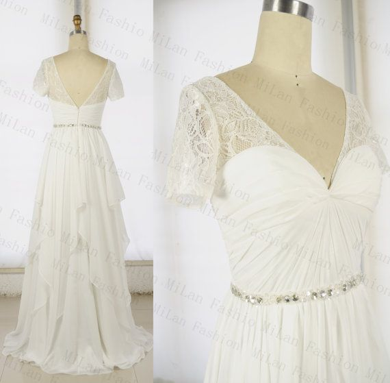 Beach Wedding Dress Ivory Chiffon Bridal Dress Lace Wedding Dresses Flouncing Wedding Gown Sweetheart Bridal Gowns