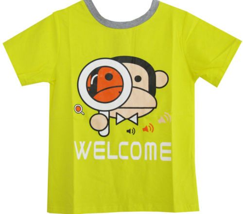 Boys Top T-shirt Monkey Print Yellow Shirt Children Clothes Size 2 3 4 5 6 NWT