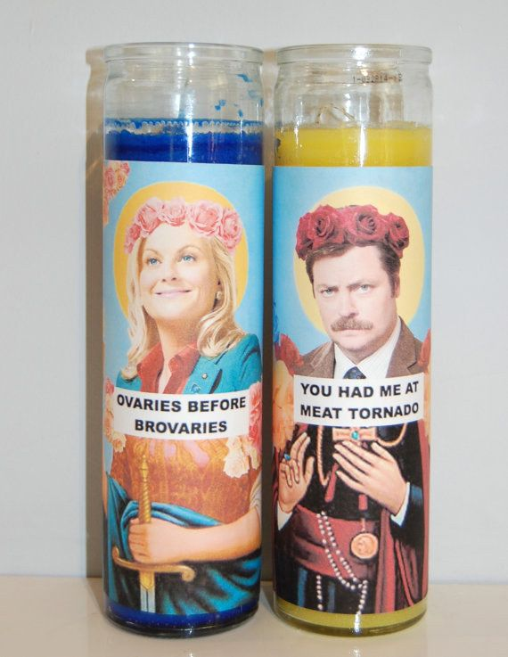 """Saints Leslie and Ron Candles 