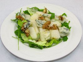 Voedzselzandloper-proof: Groene salade met peer en gorgonzola