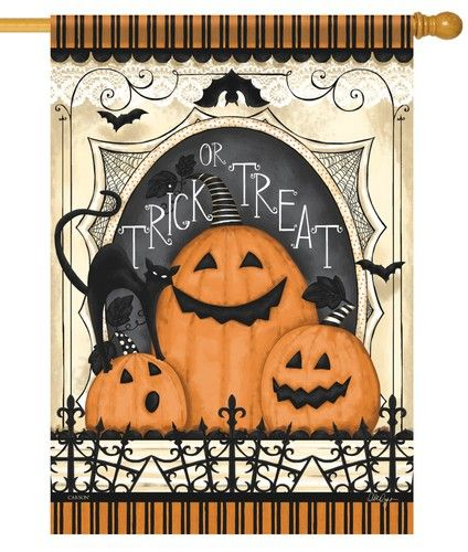 Spooky Pumpkin Trio House Flag