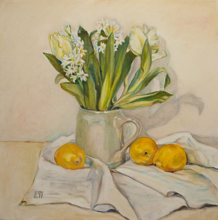 Buy White Flowers and Lemons, Oil painting by Liudmila Pisliakova on Artfinder. Discover thousands of other original paintings, prints, sculptures and photography from independent artists.