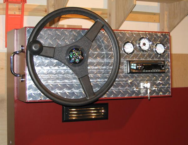 Steering wheel and gauges for bunk bed the boys for Zamboni room design