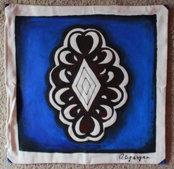 Taies d'oreiller, décoratifs, à la main peint, coussins, arménienne fait à la main, Batik