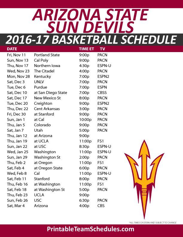 Arizona State Sun Devils Basketball Schedule 2016-17.  Print Here - http://printableteamschedules.com/NCAA/arizonastatesundevilsbasketball.php