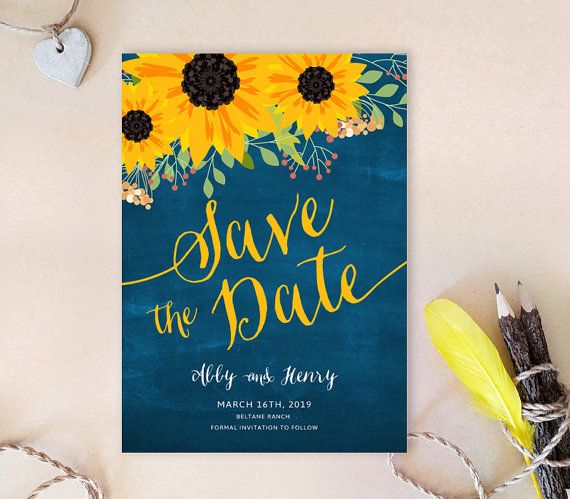 Chalkboard sunflower save the dates | Sunflower Save the date cards printed | Country barn wedding save the date cards | Royal blue