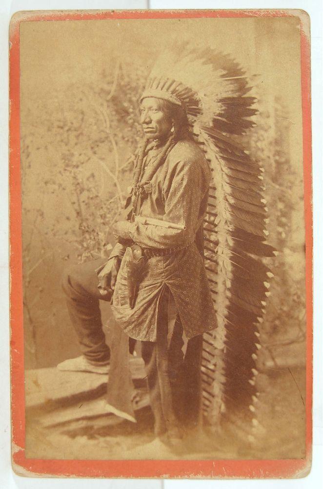 1880s NATIVE AMERICAN ARAPAHO INDIAN CABINET CARD PHOTO OF CHIEF BUFFALO WALLOW