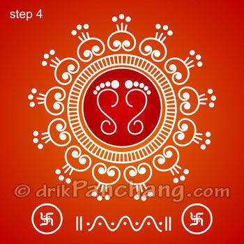This page provides Lakshmi Pada Rangoli Designs with title Lakshmi Pada Rangoli 8 for Hindu festivals. Lakshmi Pada is also known as Shri Pada and Lakshmi feet.