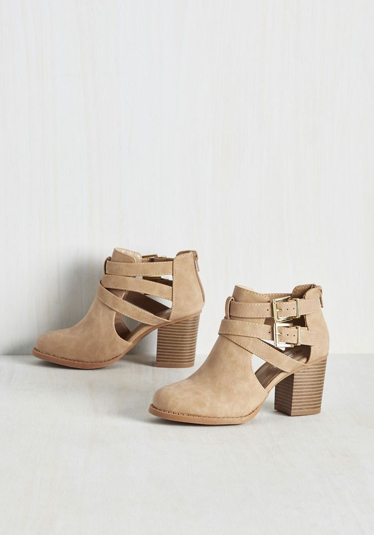 Adventure Essentials Bootie in Sand. The one item youre always sure to pack before your travels? #tan #modcloth
