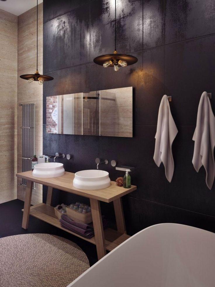 salle de bains moderne avec un carrelage mural aspect pierre, meuble sous-vasque en bois clair et deux vasques blanches