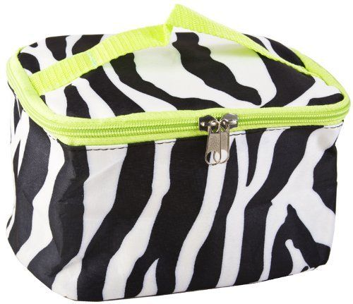Zebra Cosmetic Makeup Case with Green Trim by Private Label. $7.95. Top Handle. Material: Microfiber. Lining: Padded Microfiber. Main Enclosure: Zipper. Soft Sided. Get organized with this multipurpose makeup bag to store brushes, eye shadows, lipsticks, and your other supplies for your beauty regimen. Use it for toiletries for traveling or keep your skincare essentials easy to grab and go to the gym. Compact enough to slip into a tote bag or school bag, but spacious enough to ...