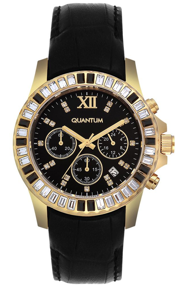 QUANTUM Impulse Crystals Gold Black Leather Chronograph IML421.151 - QUANTUM ΓΥΝΑΙΚΕΙΑ ΡΟΛΟΓΙΑ