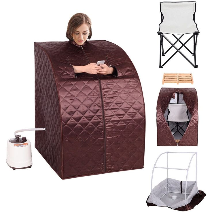 Costway Portable 2L Steam Sauna Spa Full Body Slimming Loss Weight Detox Therapy w/Chair, Brown (Cotton)