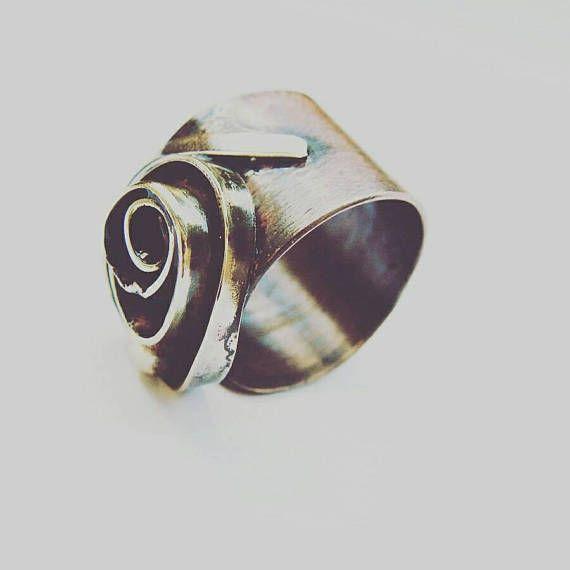 Rose bud. mixed metal sculptural ring. sculptural ring.