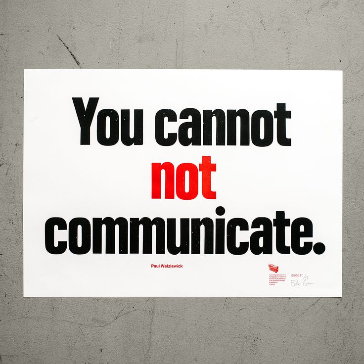 "Poster ""You cannot not communicate."""