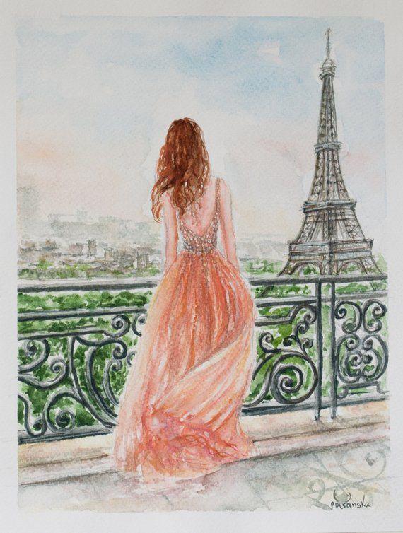 Romantic Eiffel Tower Painting Wall Art Paris Watercolor Fashion