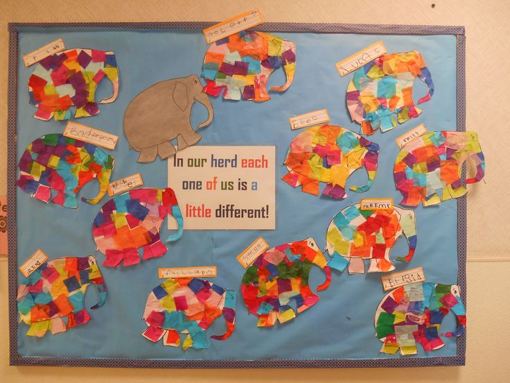 Elmer the Elephant bulletin board. Elephants made with tissue paper squares!