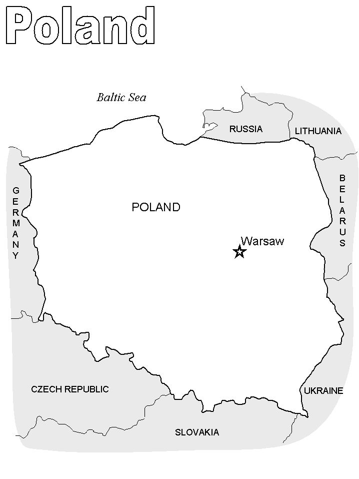 Print coloring page and book Poland Map2 Countries