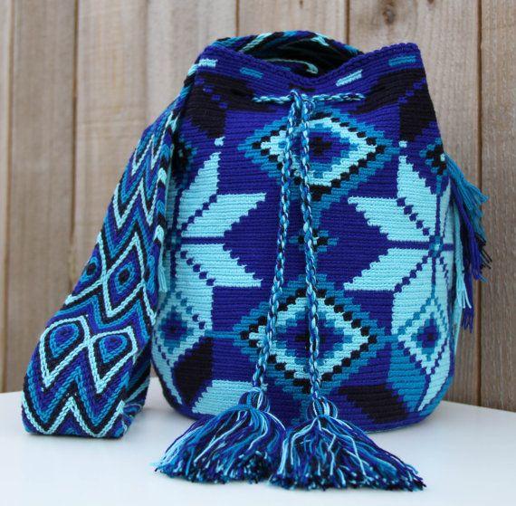 Azul Wayuu Mochila Bag by MAKAWIACCESSORIES on Etsy, $138.00