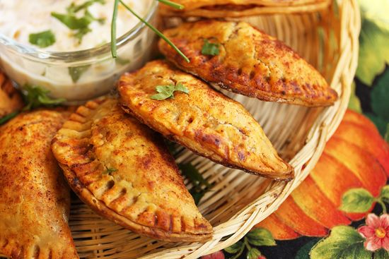 Sweet potato and turkey empanadas.