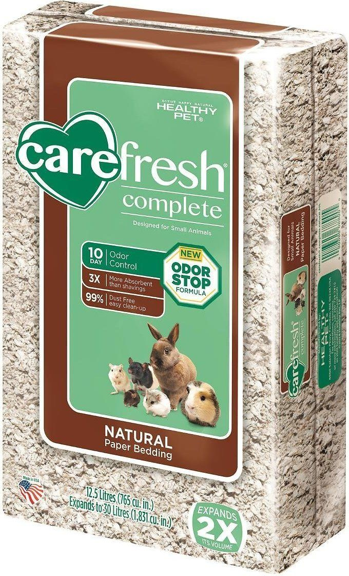 CareFresh Complete Natural Small Animal Paper Bedding provides superior odor control and absorbs three times more liquid than wood shavings to keep your small pet healthy and clean. It's made from natural reclaimed paper fiber, a renewable resource that's biodegradable and compostable. This high-performance bedding is virtually dust-free so both you and your pet can breathe easy. CareFresh uses a proprietary Odor Stop formula that has been proven to suppress overpowering ammonia odors...