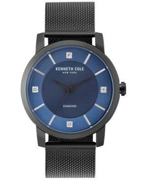Kenneth Cole New York Men's Diamond-Accent Black Stainless Steel Mesh Bracelet Watch 43.5mm KC15105001 - Black