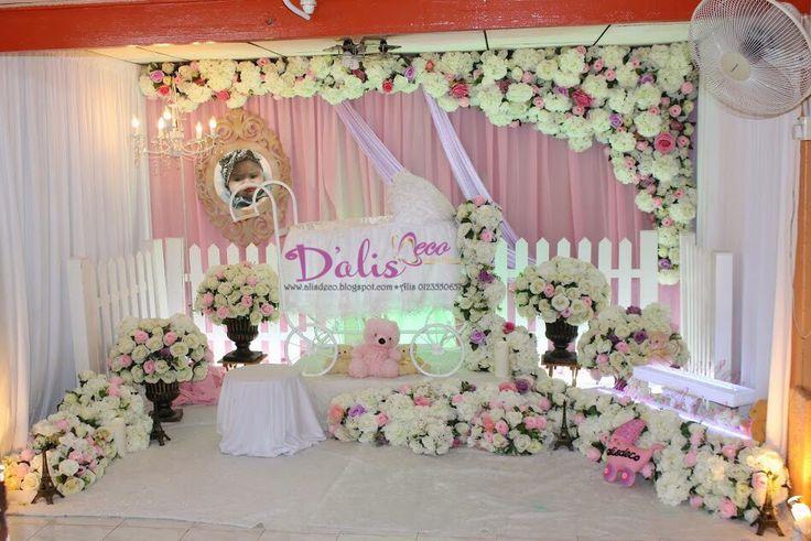 Pelamin Buaian Berendoi Cukur Jambul Pakej Aqiqah Flower Garden Theme Vintage Pram Cradle Majlis