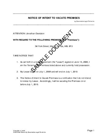 picture regarding Printable 30 Day Notice to Vacate titled Printable Pattern 30 Working day Consideration Toward Vacate Template Kind
