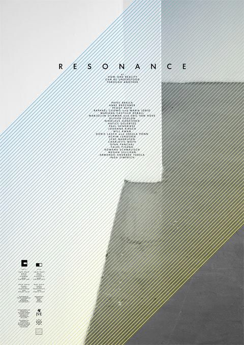 """Katja Gretzinger  Resonance:   Or How One Reality Can Be   Understood Through Another    Poster and invitation for the exhibition """"Resonance"""" curated by Astrid Wege, shown at Artis,   's-Hertogenbosch and Stuk, Leuven. 2006"""