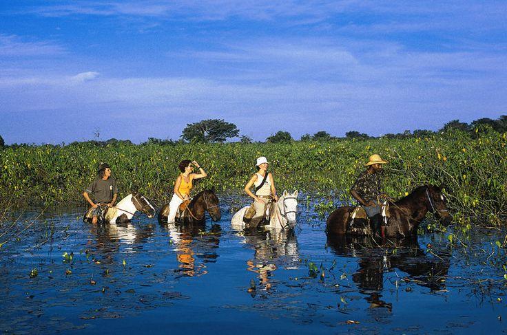 Passeio a cavalo organizado pela Pousada Araras Eco Lodge, no Pantanal Norte em Poconé, Mato Grosso