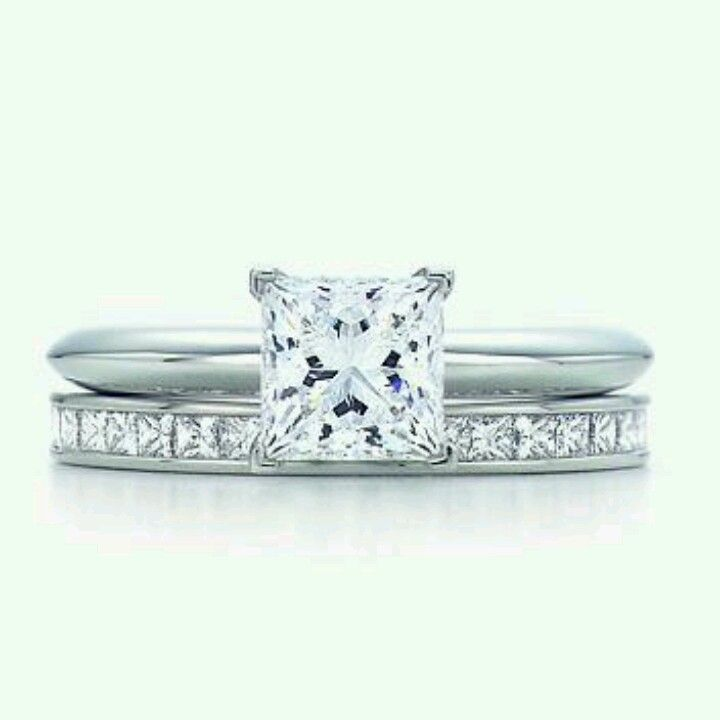 Tiffany & Co princess cut diamond engagement ring & diamond wedding band- this will be my wedding set