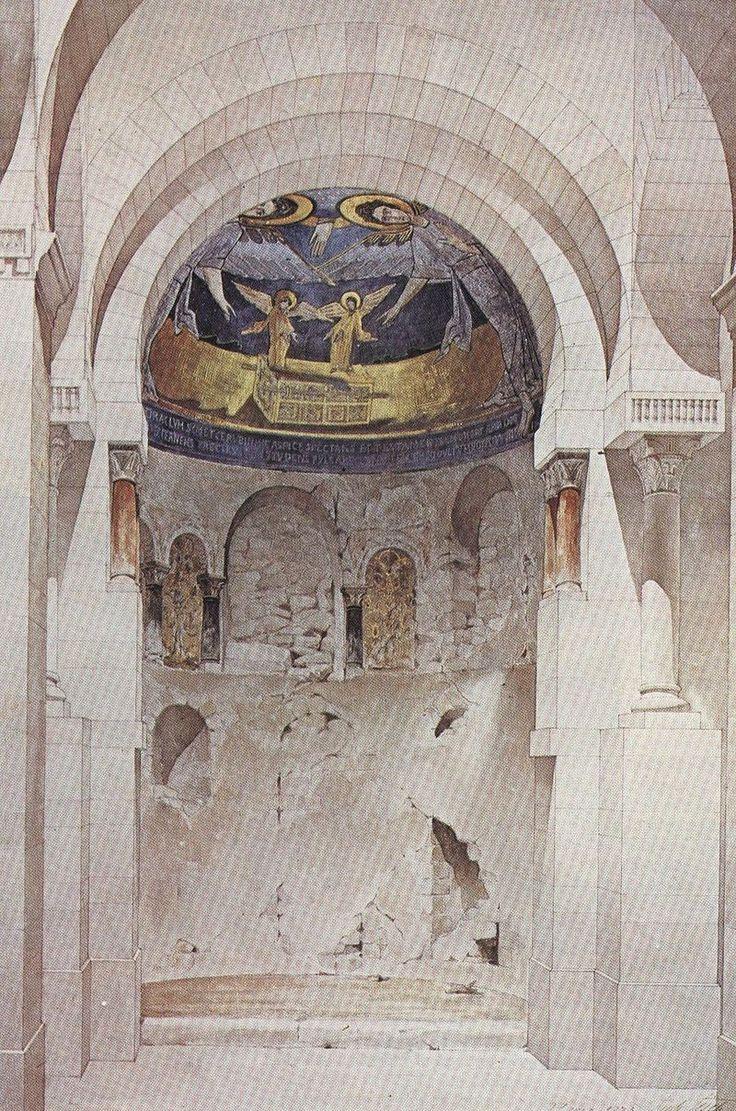 """""""Juste Lisch relevé de l'abside Germiny-les -près 1873"""" autorstwa Praca własna - photographie de l'oeuvre. Licencja Domena publiczna na podstawie Wikimedia Commons"""