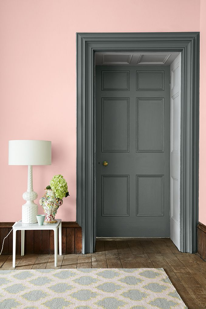 Pink wall in confetti by little greene the door and casing are in livid combined with gauze dark interior decor and paint little greene colours of england
