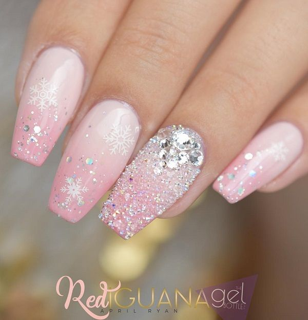 Silver rhinestones and shine will look as drops of dew on your nails.