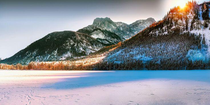 montañas, nevadas, nieve, amanecer, lago, helado, sol, rayos, 1704152354