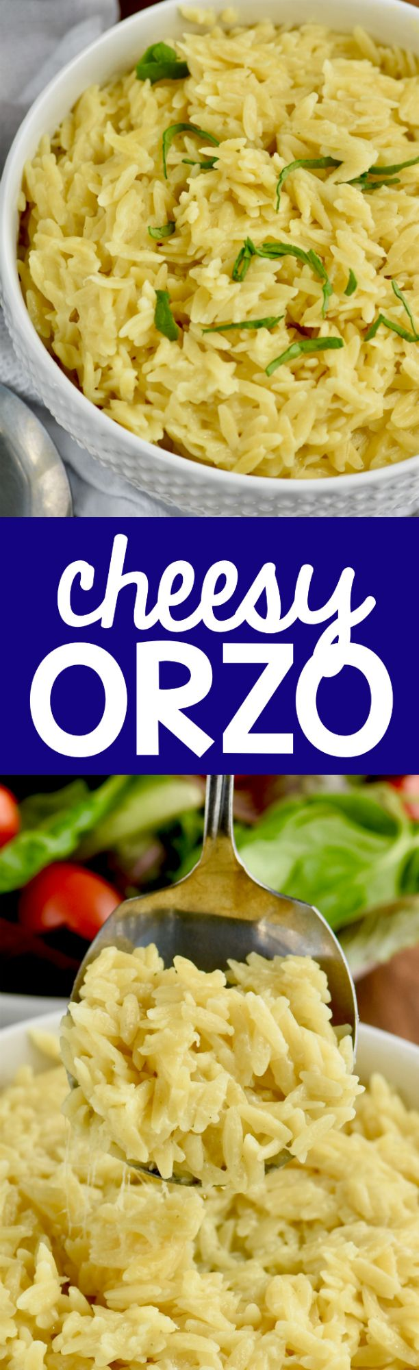 This Cheesy Orzo comes together so fast with only three ingredients and is the perfect side dish!