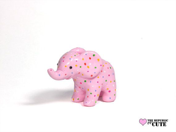 Pink Polka Dot Party Elephant, Handmade Polymer Clay Miniature Sculpture