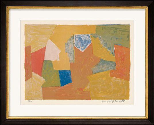 """Serge Poliakoff, """"Komposition in Gelb, Orange und Grün"""", 1957 http://www.kunsthaus-artes.de/de/775647.R1/Bild-Komposition-in-Gelb-Orange-und-Gruen-1957/775647.R1.html#q=poliakoff&start=3"""