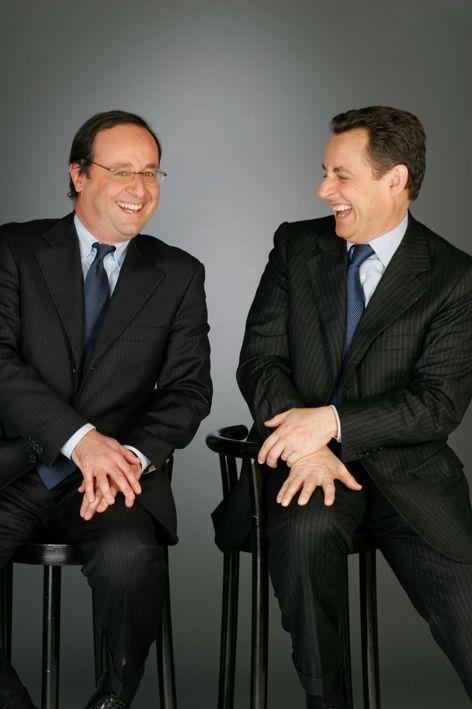 Bon anniversaire Nicolas Sarkozy! François Hollande et Nicolas Sarkozy, posent ensemble pour la 1ère fois dans les locaux de Paris Match le 14 Mars 2005 Photo: Jean-Claude Deutsch / Paris Match