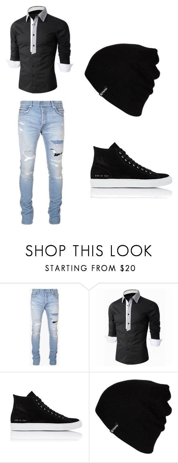 """""""Sem título #122"""" by mariajuliaebeatriz on Polyvore featuring Balmain, Common Projects, Hurley, men's fashion e menswear"""