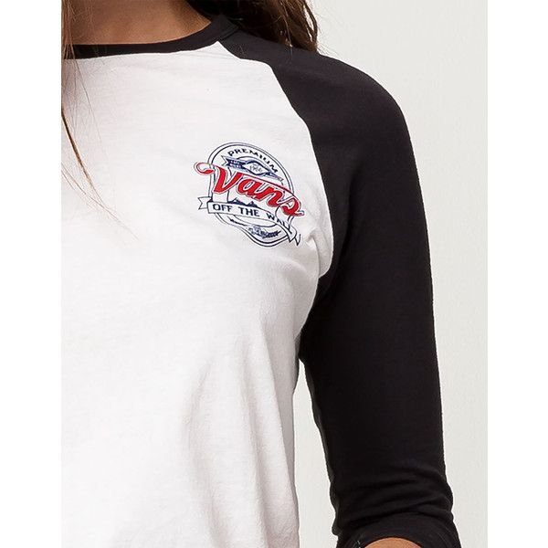 Vans Cold Filtered Raglan Tee (81 BRL) ❤ liked on Polyvore featuring tops, t-shirts, white cotton t shirts, crew neck tee, cotton tee, crewneck tee and vans t shirt