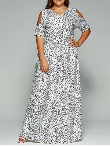 96d13601139 Shop for White 2xl Plus Size Cold Shoulder Maxi Bohemian Dress online at   28.82 and discover fashion at RoseGal.com Mobile
