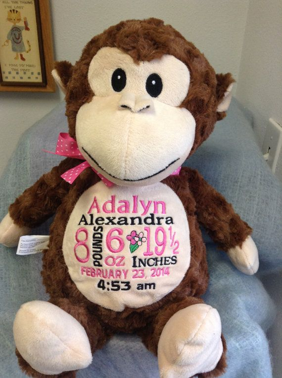430 best personalized baby gifts images on pinterest personalized baby gift monogrammed monkey birth announcement by worldclassembroidery 3999 negle Image collections