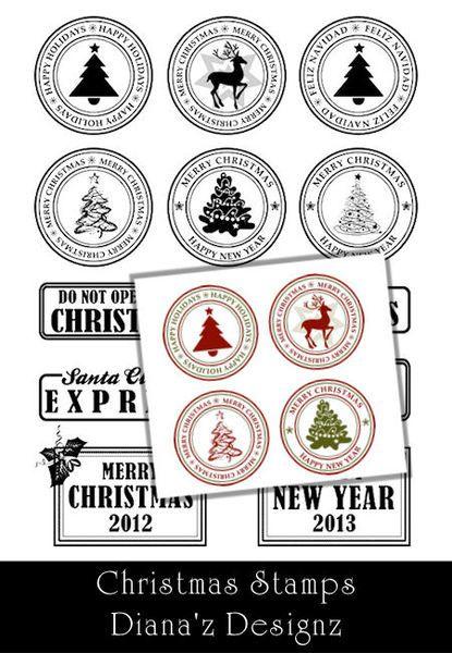 13 pinceles de sellos navideños - Christmas Stamps Brushes
