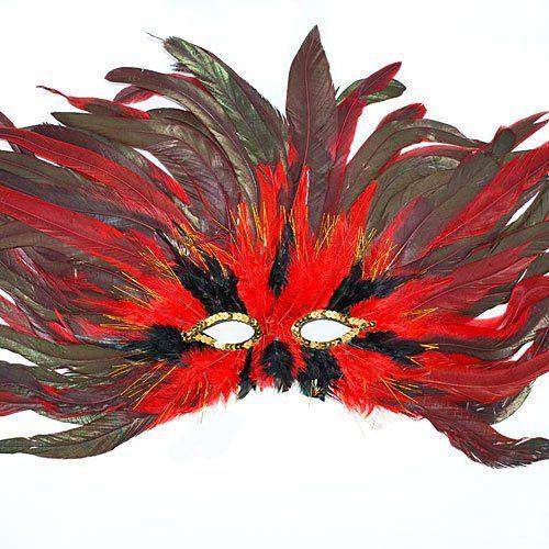 Antifaz explosivo rojo y negro - Antifaces para niños y padres. Manualidades de Carnaval Wreaths, Halloween, Fall, Diy, Carnivals, Colorful Feathers, Mask Party, Autumn, Door Wreaths