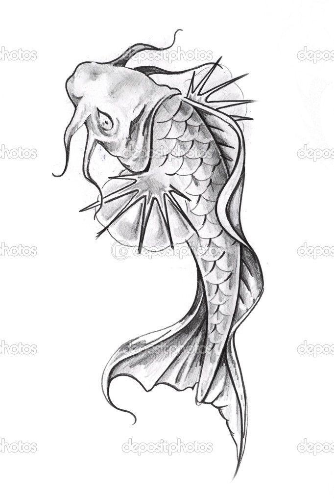 depositphotos_8684137-Sketch-of-tattoo-art-goldfish.jpg (682×1023)